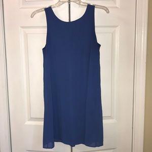 Royal blue shift dress with crochet back detail